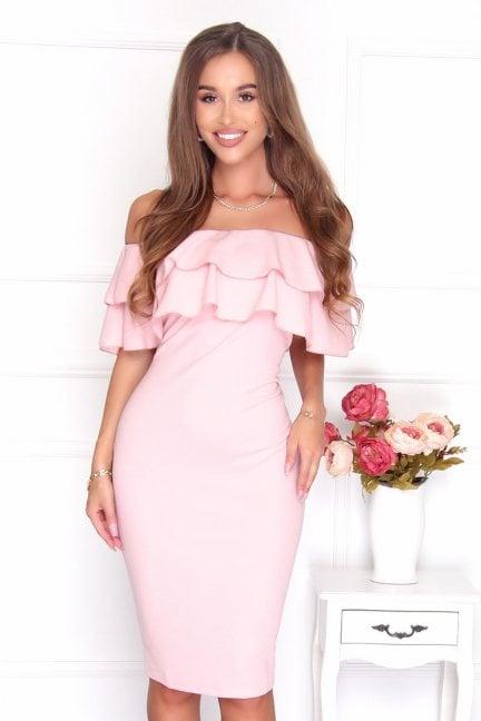 Sukienka damska hiszpanka midi różowa