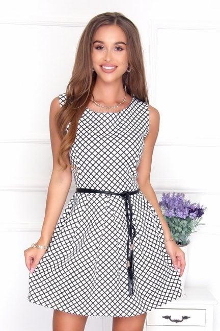 Sukienka elegancka w kratkę ecru