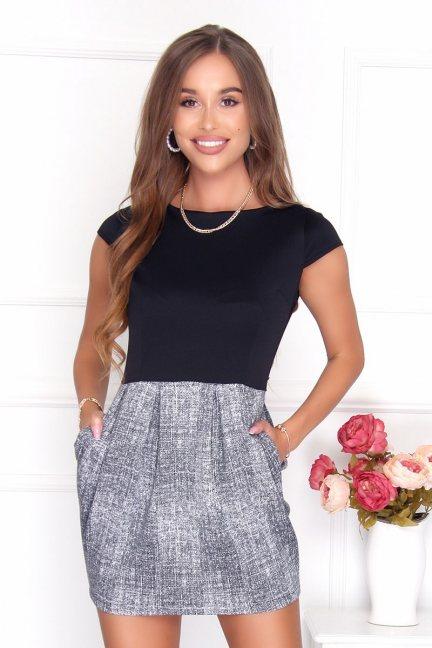Sukienka bombka mini czarno-szara