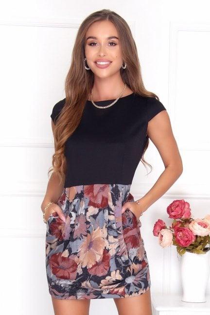 Sukienka bombka damska wzór czarna