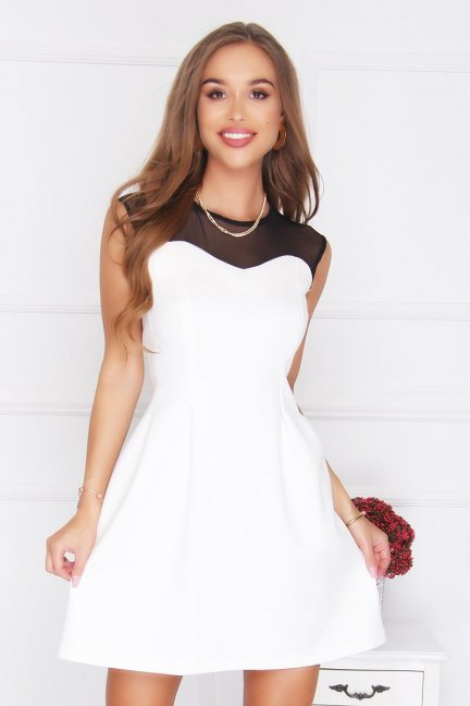 Sukienka rozkloszowana sexy ecru