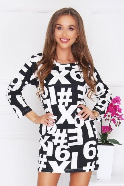 Sukienka tuba druk w cyfry czarna