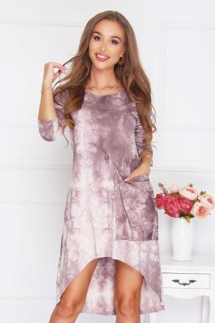 Sukienka bawełniana kieszeń pudrowy róż