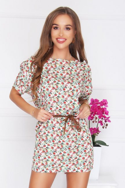 Sukienka damska mini w różyczki ecru