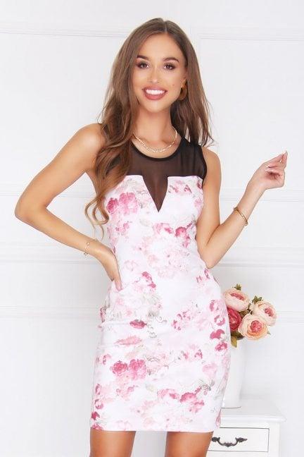 Sukienka mini z siateczką kwiaty różowa