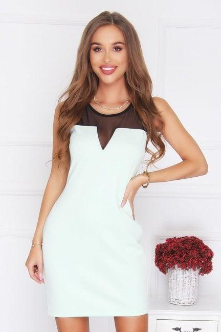 Sukienka z siateczką gładka miętowa