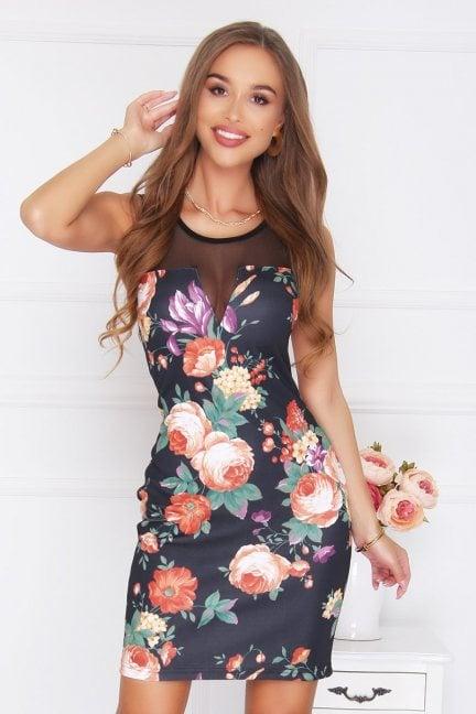 Sukienka siateczka kwiaty czarna