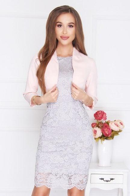 Żakiet eleganckie bolerko różowy
