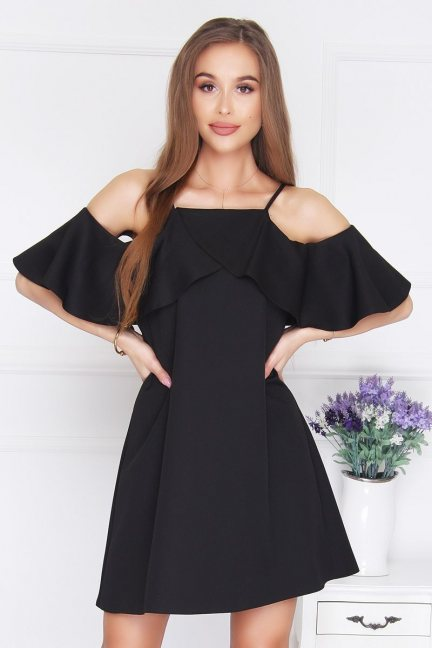Sukienka trapezowa na ramiączka czarna