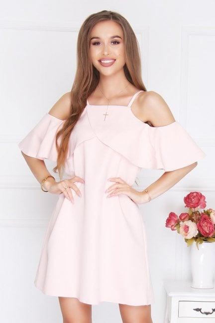 Sukienka trapezowa na ramiączka pudrowy róż