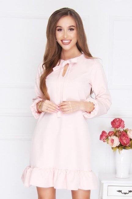 Sukienka mini wiązany dekolt różowa