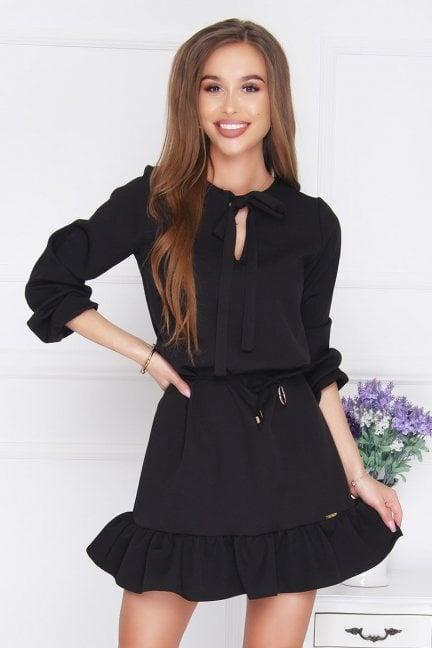 Sukienka mini wiązany dekolt czarna