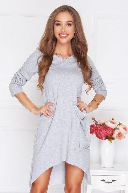 Sukienka bawełniana kieszeń szara
