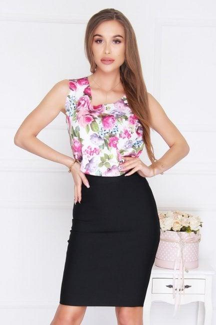 Bluzka trapez w kwiatki różowa