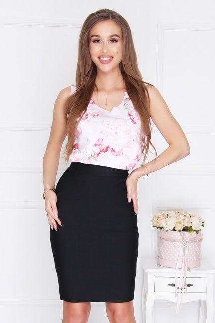 Bluzka trapez wzór kwiatki różowa