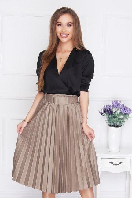 Spódnica modna plisowana midi brązowa