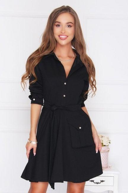 Sukienka militarna klosz czarna