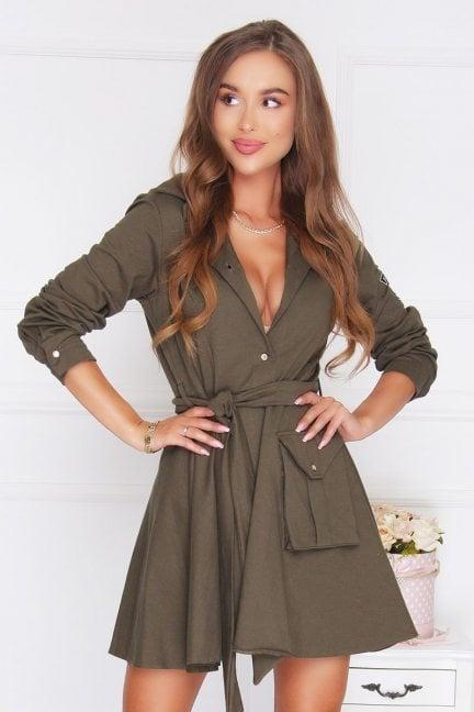 Sukienka militarna klosz khaki