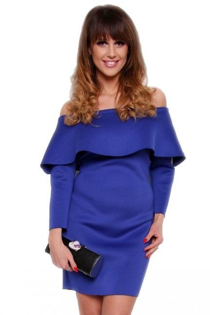 Sukienka hiszpanka ołówkowa CM410 chabrowa