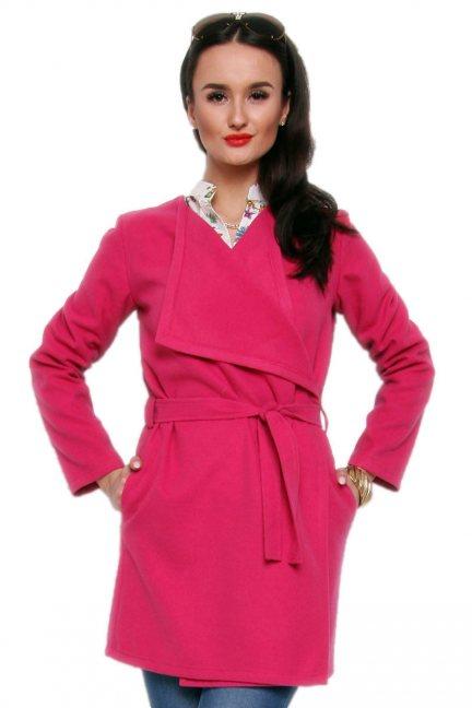 Płaszcz flauszowy wiązany CM433 ciemno różowy