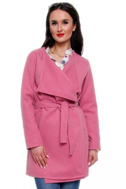 Płaszcz flauszowy wiązany CM433 różowy