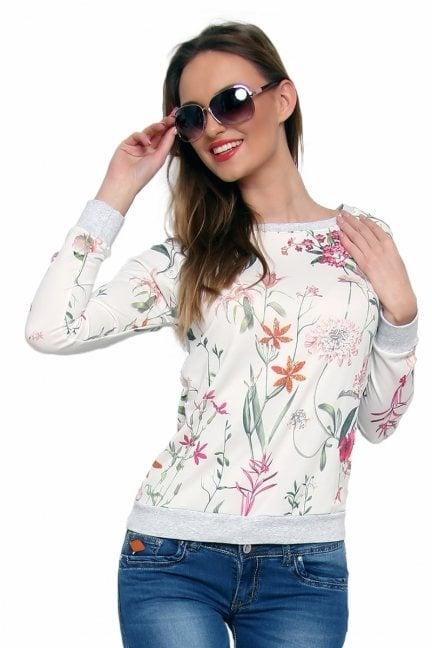 Bluza bawełniana w kwiaty CM087 pomarańczowa