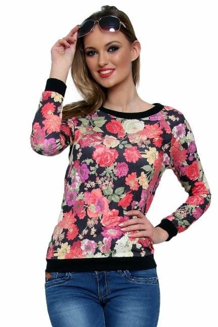Bluza bawełniana w kwiaty CM087 czarna