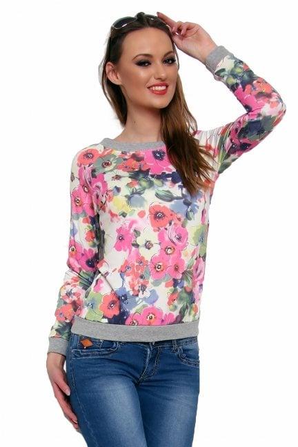 Bluza bawełniana w kwiaty CM087 różowa