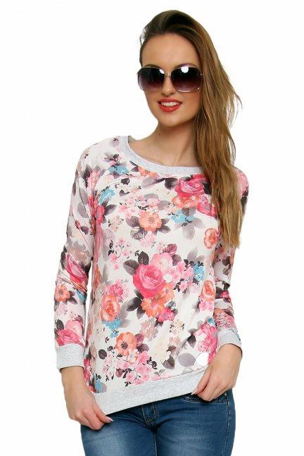 Bluza bawełniana w kwiaty CM087 jasno różowa