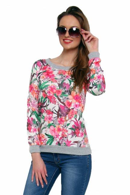 Bluza bawełniana w kwiaty CM087 ciemno różowa