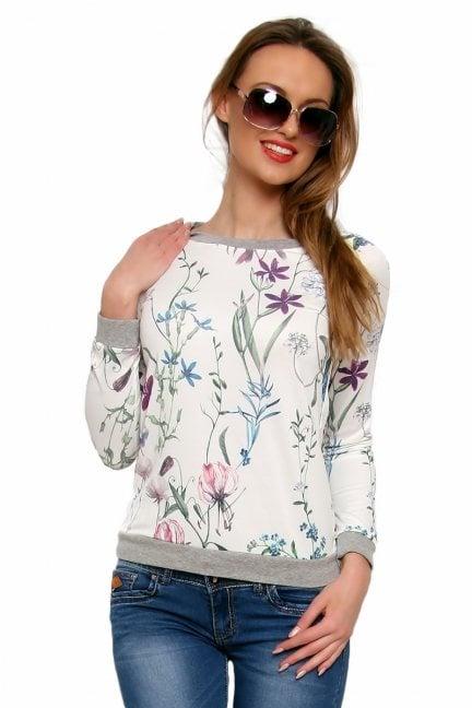 Bluza bawełniana w kwiaty CM087 fioletowa