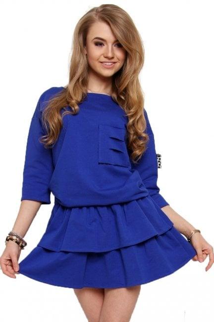 Sukienka mini z falbankami chabrowa