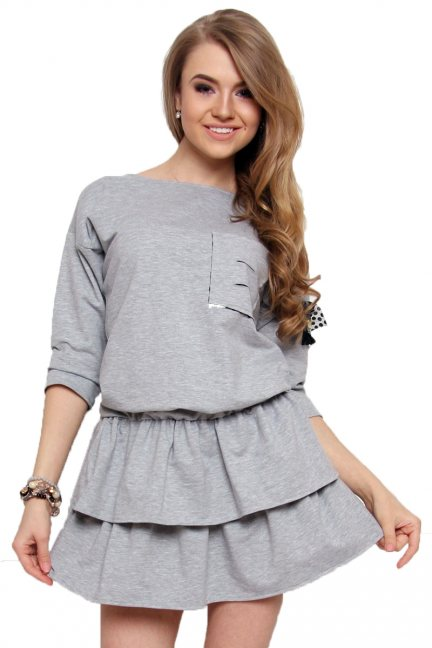 Sukienka mini z falbankami szara