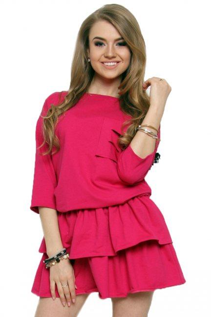 Sukienka mini z falbankami CM442 różowa