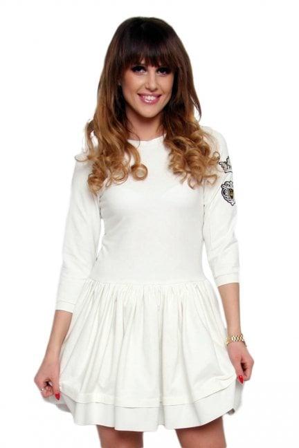Sukienka klosz z koroną CM374 ecru
