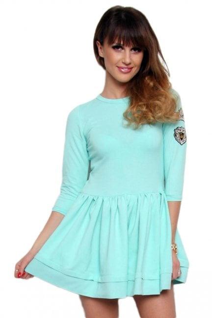 Sukienka klosz z koroną CM374 miętowa