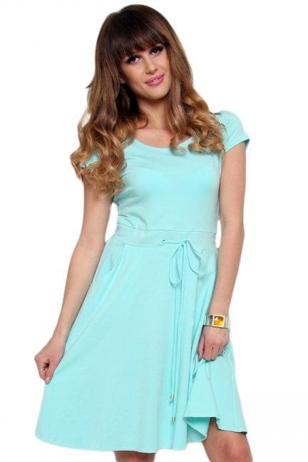 Sukienka wiązana z bawełny CM438-2 miętowa