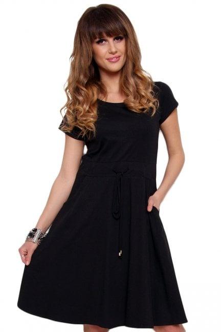 Sukienka wiązana z bawełny czarna