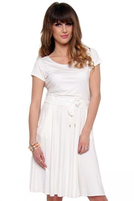 Sukienka wiązana z bawełny ecru
