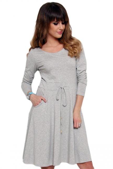 Sukienka midi wiązana CM438-1 szara