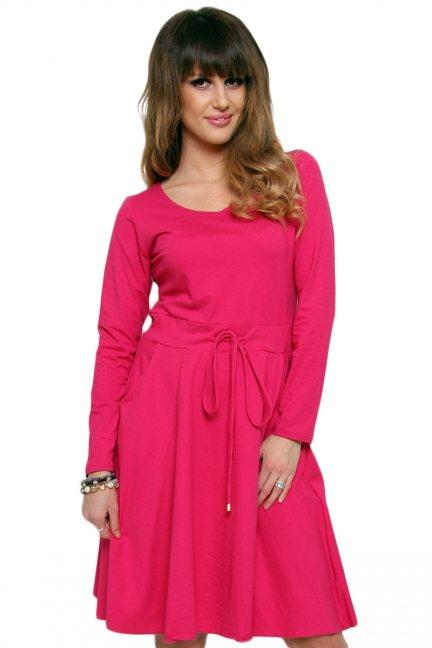 Sukienka midi wiązana CM438-1 różowa