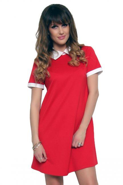 Sukienka z kołnierzykiem czerwona