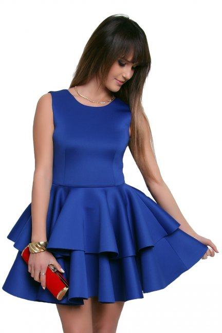 Sukienka z falbanką z pianki CM370 chabrowa