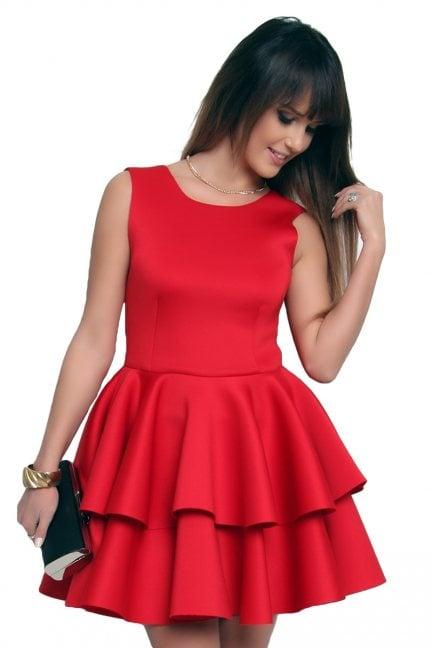 Sukienka z falbanką z pianki CM370 czerwona