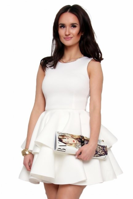 Sukienka z falbanką z pianki CM370 ecru
