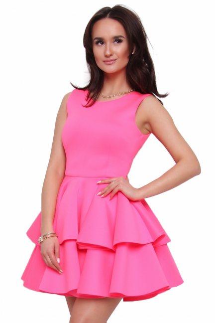Sukienka z falbanką z pianki CM370 różowa