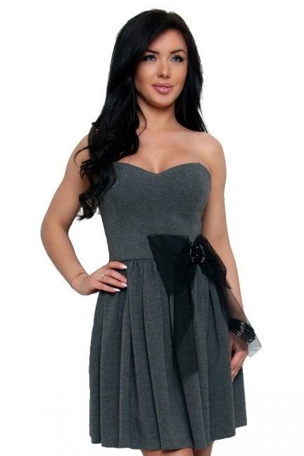 Sukienka gorset z kokardą CMK170 szara