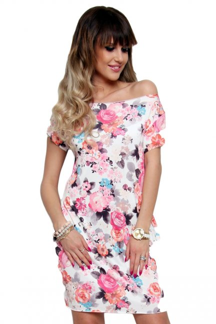 Sukienka letnia w kwiaty CM094-4 pudrowy róż