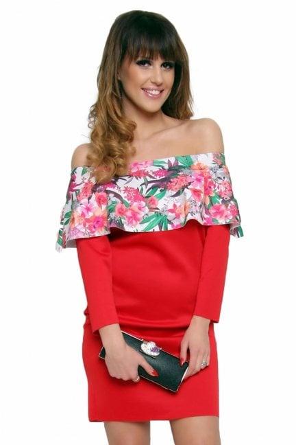 Sukienka hiszpanka w kwiaty CM410A czerwona