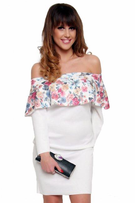 Sukienka hiszpanka w kwiaty CM410A ecru